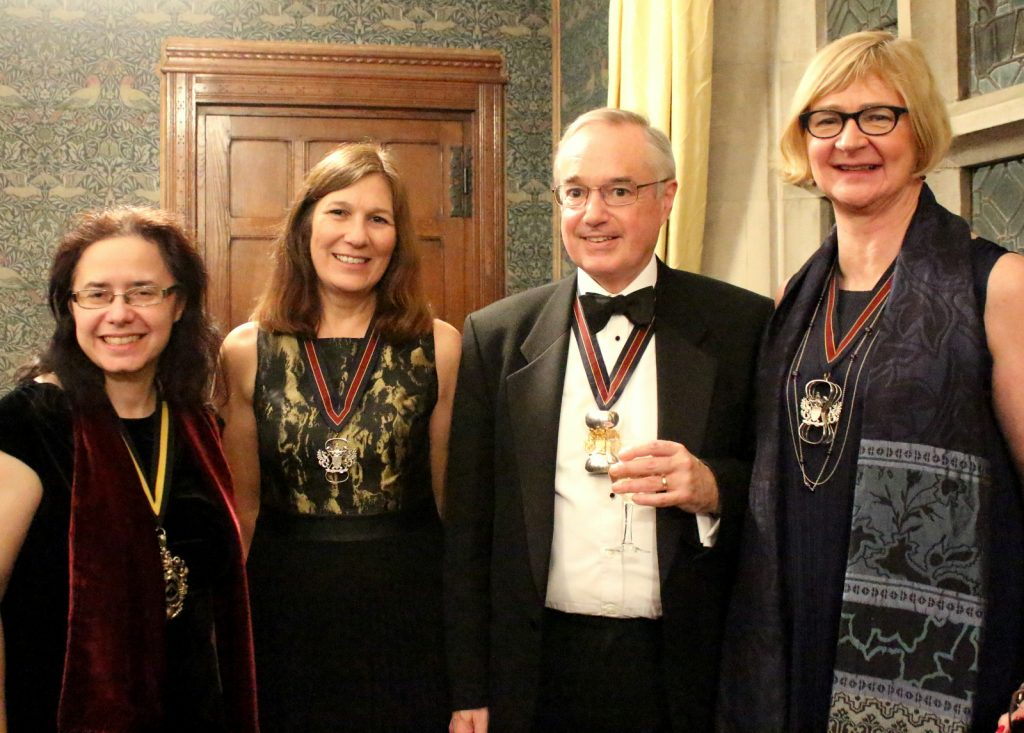 2018 01 30 WCA dinner - Clare James (Master Fletcher), Julie Griffiths (2018/19 Junior Warden, Master Nick D, Fiona Morrison (2018/19 Senior Warden)