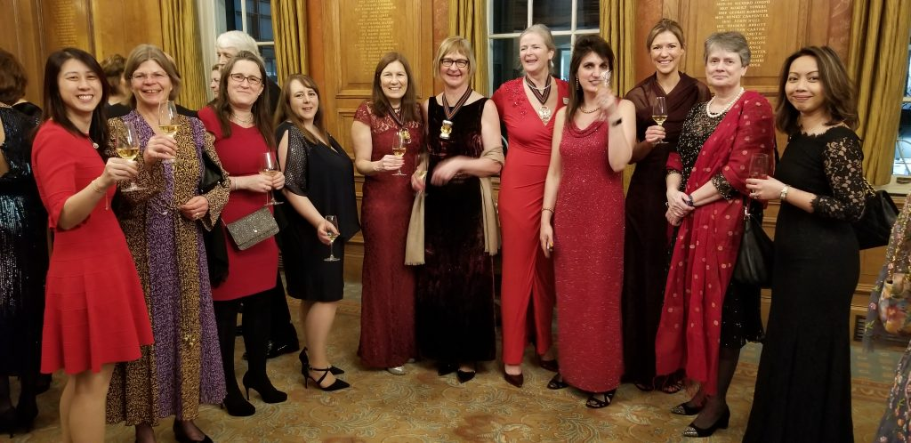 Ladies in red at Lady Master Association dinner 3 Feb 2020